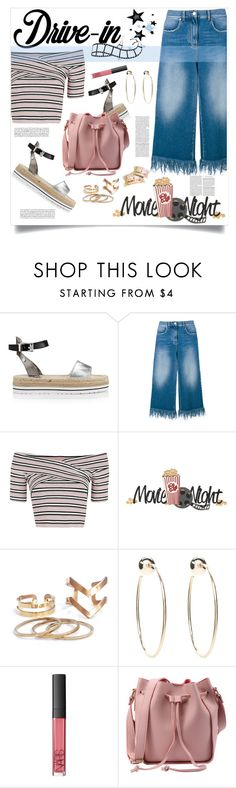 """""""Summer Date: The Drive-In"""" by judysingley-polyvore ❤ liked on Polyvore featuring Love Moschino, MSGM, Topshop, Bebe, NARS Cosmetics, DateNight, drivein and summerdate"""