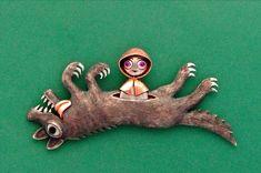 """Little Red Riding Hood"" brooch by Kazuma Nagai, 2012. Silver, copper, pink sapphire, black coral, hippopotamus tooth."