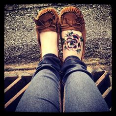 Normally I don't like tattoos that cover your whole foot, but this one is cute.. there's something about it.