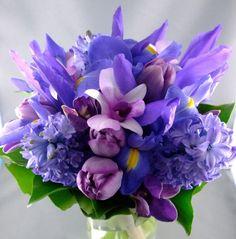blue wedding bouquets | Purple Tulip and Blue Hyacinth Bridal Bouquet