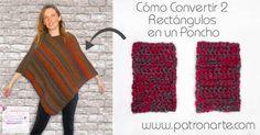 How To Turn 2 Rectangles Into a Poncho (English Subtitles) Crochet Poncho, Love Crochet, Loom Knitting, Baby Knitting, Garnstudio Drops, Knitting Patterns, Crochet Patterns, Origami Step By Step, Poncho Sweater