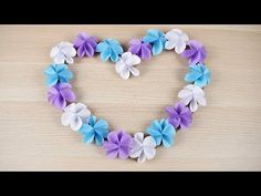 Heart Shaped Paper Flower Wreath - DIY Photo Booth Props for Wedding Origami Tree, Origami And Kirigami, Origami Flowers, Origami Paper, Paper Flower Wreaths, Paper Flowers, Diy Photo Booth Props, Purchase Card, Paper Crafts