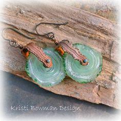 Handmade Snakeskin and Criffles Swivel Earrings. Kristi Bowman Design via Etsy.