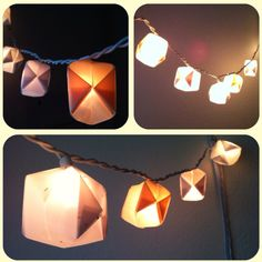 DIY miniature lantern lights strand. Use craft store pack of thick varried color vellum sheets (creams and whites make a nice candle lit glow). Google origami globe instructions and practice on printer paper. Expirament cutting different size squares until you have the size you want then cut your vellum into squares and fold into globes. Use white Christmas light strand and pop gloves over each light, they will stay in place on thier own.