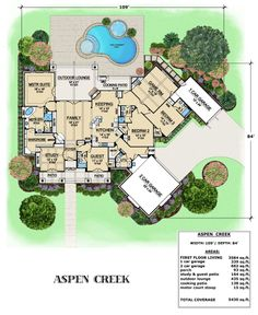 This one-story house plan features a cozy family room, vaulted game room & large master suite. The Aspen Creek best selling house boasts views and an outdoor lounge. House Plans One Story, One Story Homes, Dream House Plans, Story House, House Floor Plans, My Dream Home, House Plans With Pool, Dream Homes, The Plan