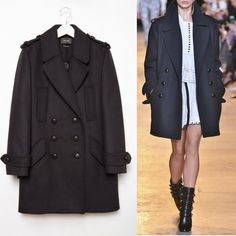 BNWT Isabel marant midnight navy wool coat sz 38 BNWT Fall 15 Isabel Marant Midnight (navy) wool-blend flannel double-breasted coat. Brand new with tag never worn. Will ship in barneys hanger and garment bag   Oversized fit, wide notch lapels, button-through epaulettes, slip chest pockets, convertible flap/welt side pockets, button-tab cuffs, back vent, tonal piping, leather-covered shank buttons Double-breasted button-front closure Quilted lining 80% wool, 20% polyamide Isabel Marant…