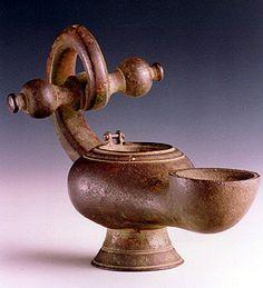 Roman Bronze Oil Lamp - FZ.012 Origin: Jericho, Israel Circa: 200 AD to 400 AD