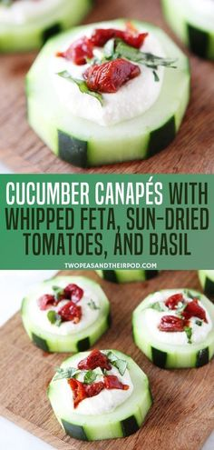 Celebrate The Holidays With Cucumber Canape's With Whipped Feta, Sun-Dried Tomatoes, And Basil They Are Great Party Appetizer For Its Colorful Festive Aura And Flavorful Taste. Most likely This Recipe Is A Crowd Pleaser Save This Up Now Cucumber Appetizers, Canapes Recipes, Easy Appetizer Recipes, Healthy Appetizers, Appetizers For Party, Healthy Snacks, Canapes Ideas, Easy Canapes, Crudite