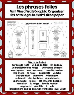 Noël: French Christmas Vocabulary Speaking and Writing Activities French School, French Class, French Lessons, French Teacher, Teaching French, Teaching Activities, Teaching Ideas, Core French, French Education