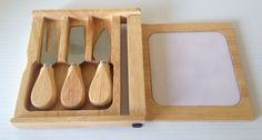 Cheese Board Set  Case w/Cutting Board & 3 Cheese Cutters #Unbranded