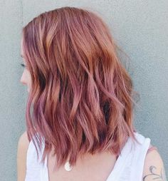 Rose Gold Textured Long Bob Hairstyle