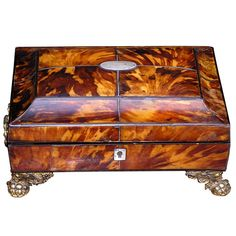 English Tortoise Shell Sewing Box | From a unique collection of antique and modern boxes at https://www.1stdibs.com/furniture/more-furniture-collectibles/boxes/