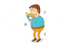 playing harmonica by zetwe shop on Creative Market