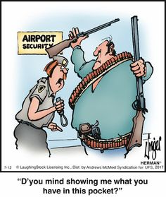 This security staff member got the BULLET when was FIRED by the airport's head of security for incompetence on an unprecedented level Funny Cartoons, Funny Comics, Funny Jokes, Hilarious, It's Funny, Herman Cartoon, Herman Comic, Jokes Pics, Humor