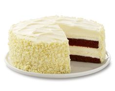 cheese cake factory : Layers of Red Velvet Cake and Cheesecake Covered with Cream Cheese Frosting.