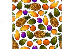 Pattern of fresh and ripe fruits by@Graphicsauthor