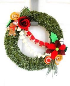 Classic Christmas Tree Felt Yarn Wreath
