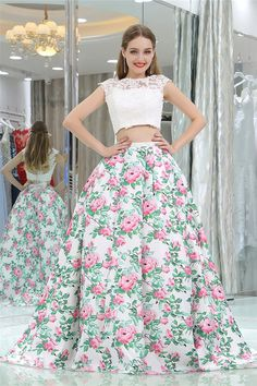 Ball Gown Cap Sleeve Open Back Two Piece Floral Printed Prom Dress Prom Dresses 2018, Prom Dresses For Sale, Two Pieces, Cap Sleeves, Ball Gowns, Floral Prints, Printed, Backless Homecoming Dresses, Floral Patterns