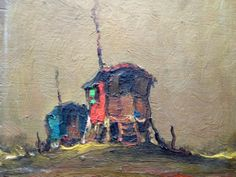This painting depicts a gypsy camp - a rare subject for a vintage oil painting