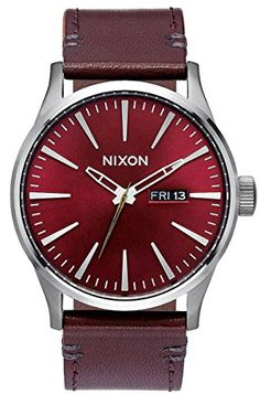 Gunmetal Grey/Burgundy The Sentry Leather Watch by Nixon ** You can get more details by clicking on the image.