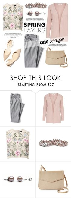"""Cute Spring Cardis"" by pearlparadise ❤ liked on Polyvore featuring Lands' End, Needle & Thread, Moda Luxe, contestentry, pearljewelry, pearlparadise, cutecardigan and springlayers"