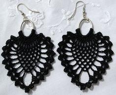 Black crochet earring - Crochet earring jewelry - Large crochet earring - Crochet earring from lindapaula on Etsy. Saved to Crochet. Diy Jewelry, Beaded Jewelry, Jewelery, Handmade Jewelry, Jewelry Making, Crochet Earrings Pattern, Crochet Motif, Crochet Patterns, Pineapple Crochet