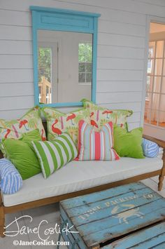 Not a fan of flamingos but loving the colors!  I love porches!!