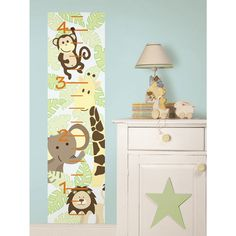 Create a fabulous feature in moments with this adorable Jungle Growth Chart from Wallpops. The chart has cute jungle animals all over it and would look great in a nursery, playroom or bedroom.: