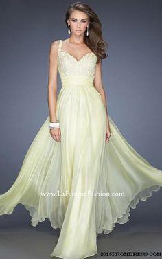 Elegant Light Yellow Prom Dress By La Femme 19882