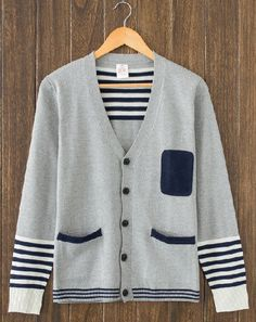Vintage mens fashion stripe cardi