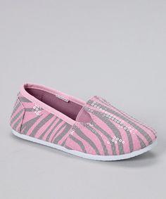 Light Pink Zebra Sequin Slip-On Shoe #zulily #zulilyfinds