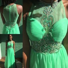 Is green your color? Tulle and elegant detailing make this a special gown. #promagain #consignment #resale #formal #dress #prom2016