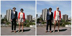 couples swap clothes. a nice series of double takes.