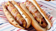 30 minutes are all you need for these grilled hot dogs wrapped in bacon and cheddar cheese.