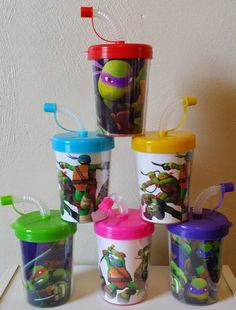 Package Includes: • 6 Teenage Mutant Ninja Turtles Personalized Party Favor Sippy Cups • Inserts are printed on High Quality Photo Paper and laminated for protection. • Inserts are hand cut and have t