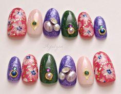 Holiday nail party nails winter nail art glittery oval by Aya1gou