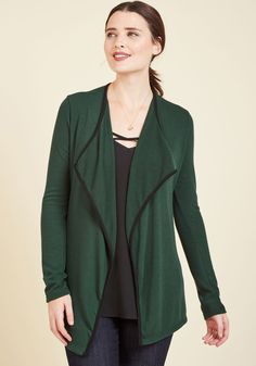 Bold and Balanced Cardigan in Forest. The great thing about draping is how stylish it looks for casual, sophisticated, and swanky occasions alike! #green #modcloth