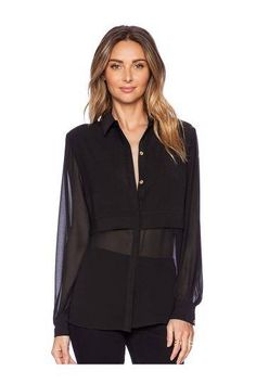 Blouse with Sheer Panels - US$19.95 -YOINS