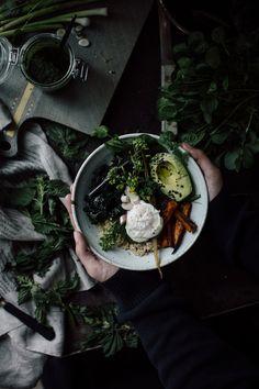 Spring Nettle Breakfast Bowl with Pesto - Christiann Koepke