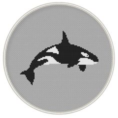 Killer Whale Cross Stitch Pattern, Instant Download, Free shipping, Cross-Stitch PDF, Cross Stitch Animal, MCS046