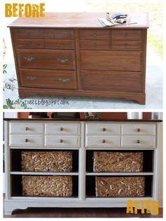 Vintage Dresser Turned Pottery Barn Style Storage Dresser !