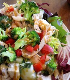 Broccoli Chicken Salad with Asian Sesame Ginger Dressing Chicken Salads, Broccoli Chicken, New Recipes, Salad Recipes, Favorite Recipes, Sesame Ginger Dressing, Dinners, Meals, Salad Dressings