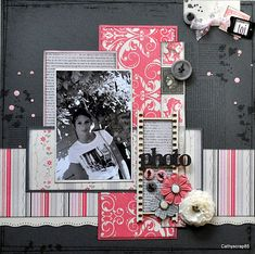 #papercraft #scrapbook #layout. greys and pinks  idea for me to use up some pinks.... like the layering