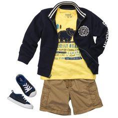 Cargo shorts with graphic tee and athletic fleece jacket. #LookoftheWeek #oshkoshbgosh