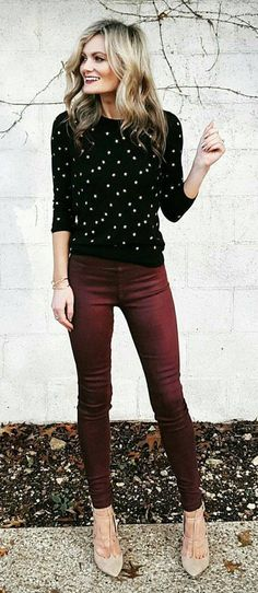 #fall #outfits women's black and white long sleeve top with maroon skinny pants #winterclotheswomen