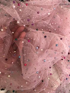 This is a tulle fabric with pearls on, pearls made by embroidery machines which makes them hard to detach. Color of the poliester base tulle is pink. This couture fabric is a great supply for sewing party dress, prom dress or cocktail dress. Pink Tulle, Tulle Fabric, Tulle Lace, Pink Fabric, Wallpaper Fofos, Fru Fru, Prom Party Dresses, Dress Prom, Dress Wedding