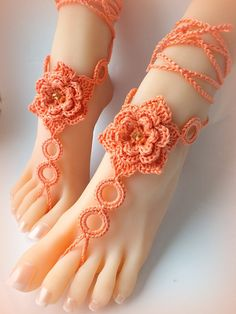 Crochet Barefoot Sandals, Nude shoes, Foot Jewelry, Wedding, Victorian Lace, Sexy, Anklet , Bellydance,Beach Footwear(A Pair-2pcs) on Etsy, $12.00