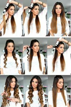 faire des boucles avec un lisseur tuto cheveux longs blouse blanche fleurs