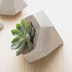 Concrete Diamond Planter Set
