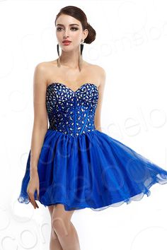 Ball Gown Sweetheart Natural Short-Mini Organza Royal #Blue Sweet 16 Dress #Cocomelody